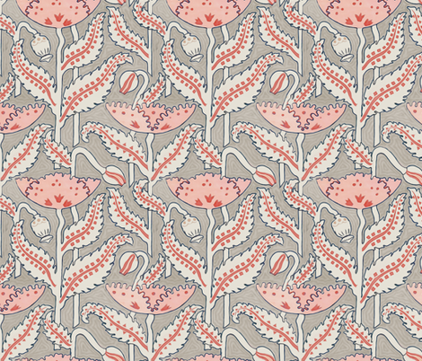 Antique Poppy in Coral, Gray and Navy fabric by willowlanetextiles on Spoonflower - custom fabric