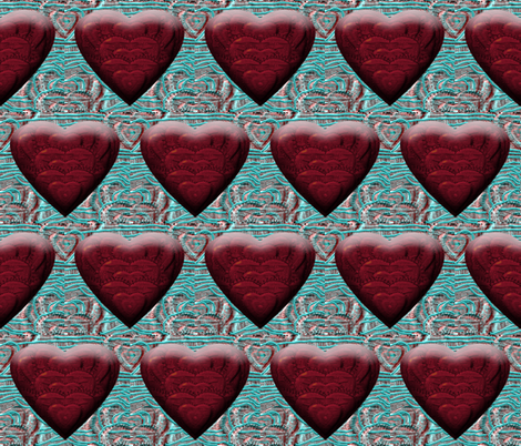 Puffed Red Hearts on Broken Shimmy Thread fabric by anniedeb on Spoonflower - custom fabric
