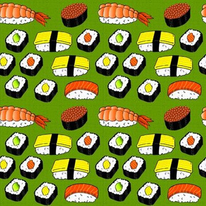 Sushi on Green Mat