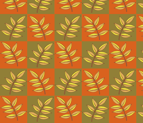 orange_and_green_leaves_repeat fabric by weejock on Spoonflower - custom fabric