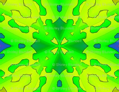 Green cut out design.