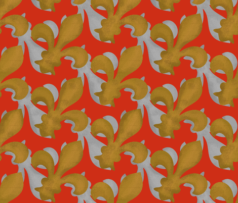 Fleur~De~Lis ~ Christmas Gilt and Silver fabric by peacoquettedesigns on Spoonflower - custom fabric