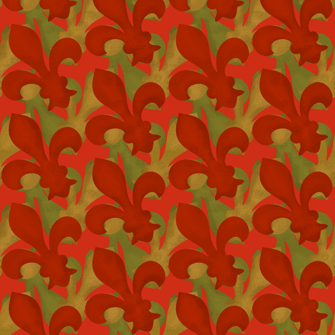 Fleur~De~Lis ~ Christmas Gilt and Green fabric by peacoquettedesigns on Spoonflower - custom fabric