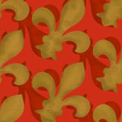 Fleur~De~Lis ~ Christmas Gilt and Red