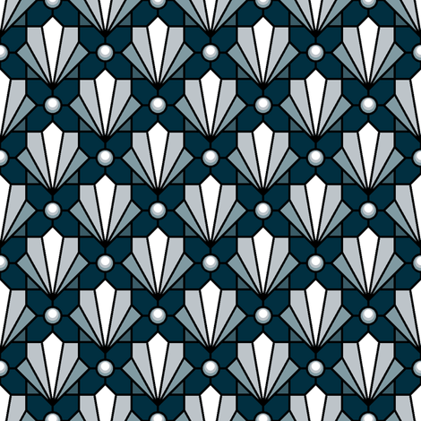 02573231 : deco shell and pearl : noir fabric by sef on Spoonflower - custom fabric