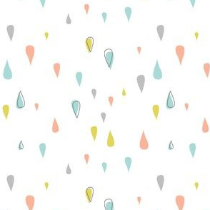 Dew Drops - Aqua Pink Yellow Gray