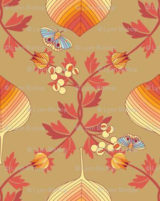 last tango in autumn - fall leaves damask