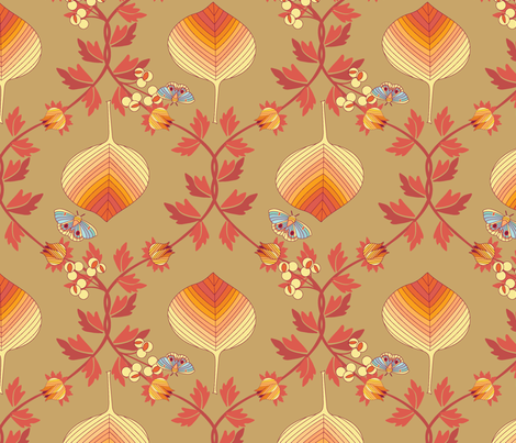 last tango in autumn - fall leaves damask fabric by lynnbishopdesign on Spoonflower - custom fabric