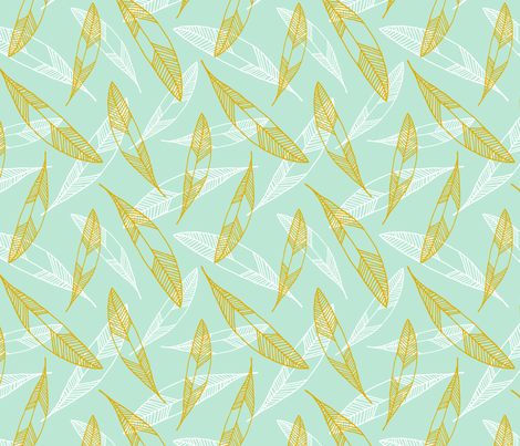 Floating Feathers: white & gold fabric by nadiahassan on Spoonflower - custom fabric