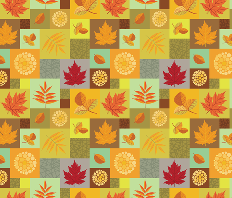 Autumn Leaves And Berries fabric by ksanask on Spoonflower - custom fabric