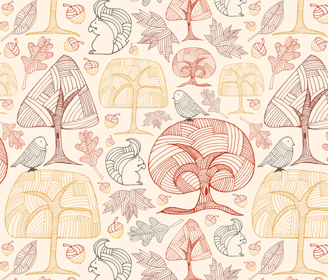 Autumn Trees & Little Friends fabric by pollyannahandmade on Spoonflower - custom fabric