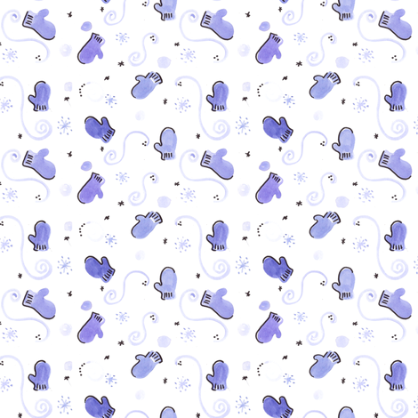 Blue Mitten fabric by cwporche on Spoonflower - custom fabric