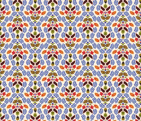 Folk Leaves Light fabric by mag-o on Spoonflower - custom fabric