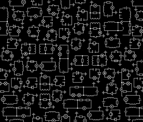 Electric Circuit (Large Black) fabric by robyriker on Spoonflower - custom fabric