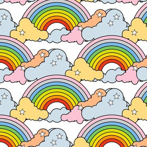 Rainbows to the Max (White Midi) || rainbow clouds stars 80s retro pop art pride children kids baby nursery