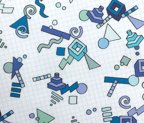 Geekometric* (Blues)    80s retro geometric math shapes 3d geek nerd graph paper grid
