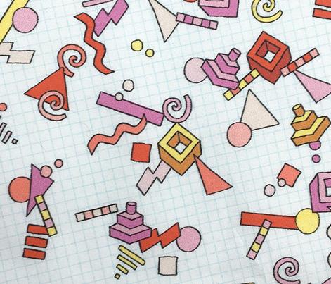 Geekometric* (Reds)    80s retro geometric math shapes 3d geek nerd graph paper grid