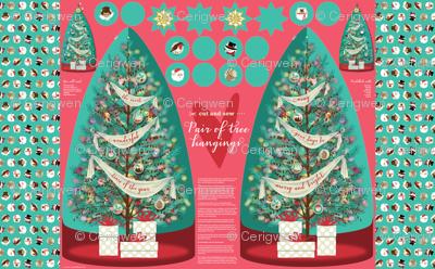Pair of festive tree hangings