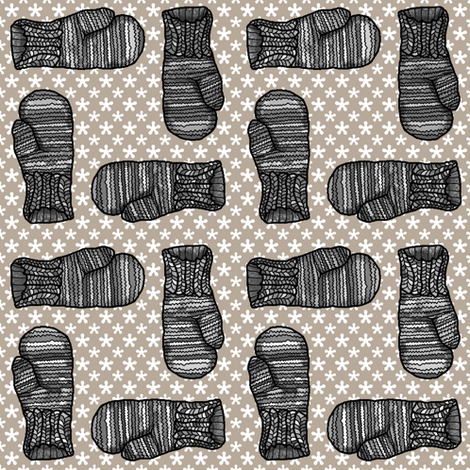 MITTENS BLACK AND WHITE fabric by paysmage on Spoonflower - custom fabric