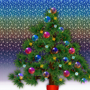 Yuletide Sunset Christmas Holiday Tree - Synergy0003
