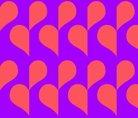 Pink Heart on Purple half drop fabric by sew_delightful on Spoonflower - custom fabric