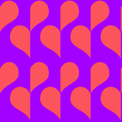 Pink Heart on Purple half drop