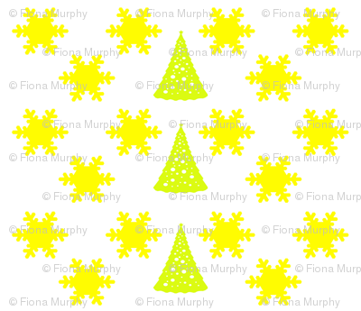 Yellow Snowflakes and Christmas Trees on White