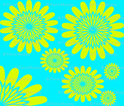Yellow Flowers on Blue