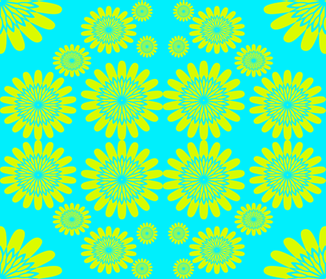Yellow Flowers on Blue fabric by sew_delightful on Spoonflower - custom fabric