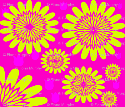 Yellow Flowers on Pink Background