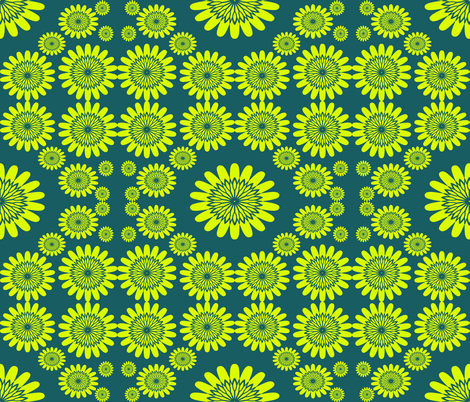Yellow flowers on Teal fabric by sew_delightful on Spoonflower - custom fabric