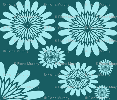 Light Blue Flowers on Teal