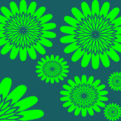 Green Flowers on Teal Background