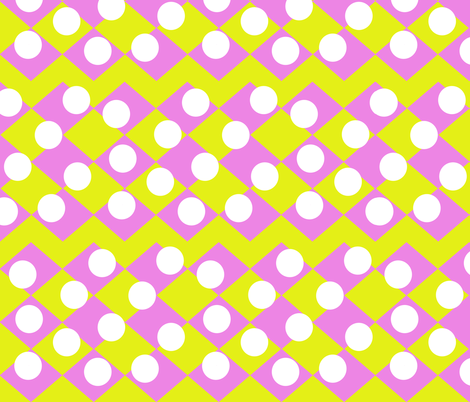 Pink Yellow checkerboard with white spots fabric by sew_delightful on Spoonflower - custom fabric