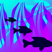 Underwater World Fish on Seabed in aqua and purple