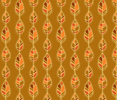 Line leaves on gold fabric by susan_swedien on Spoonflower - custom fabric