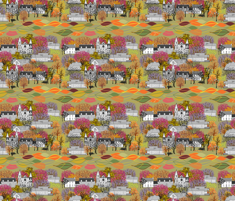 SUNDAY_MORNING_IN_OUR_VILLAGE fabric by mariskadesign on Spoonflower - custom fabric