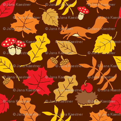 Fall Leaves, Squirrels and Hegdehogs
