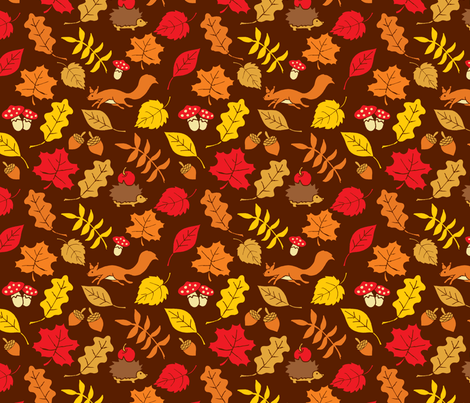 Fall Leaves, Squirrels and Hegdehogs fabric by graphiccookie on Spoonflower - custom fabric