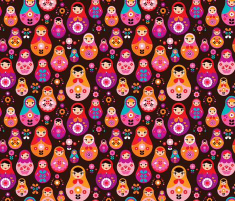 matryoshka russian doll kids pattern MEDIUM fabric by littlesmilemakers on Spoonflower - custom fabric