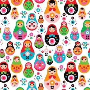 matryoshka russian doll kids colorful retro folk nesting doll pattern