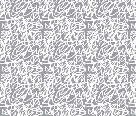 scribble white on grey fabric by jenr8 on Spoonflower - custom fabric