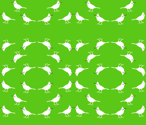mustache_birds on green fabric by jennagerie3 on Spoonflower - custom fabric