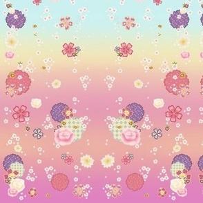 Pastel Furisode Kimono Fabric