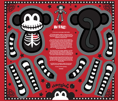 "FQ - 12"" Macabre the Skeleton Monkey Cut & Sew Doll fabric by pumpkinbones on Spoonflower - custom fabric"