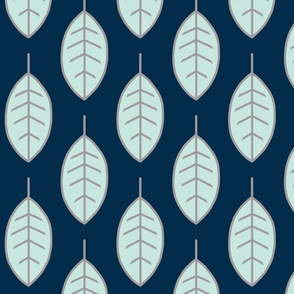 Leaves - Mint on Navy