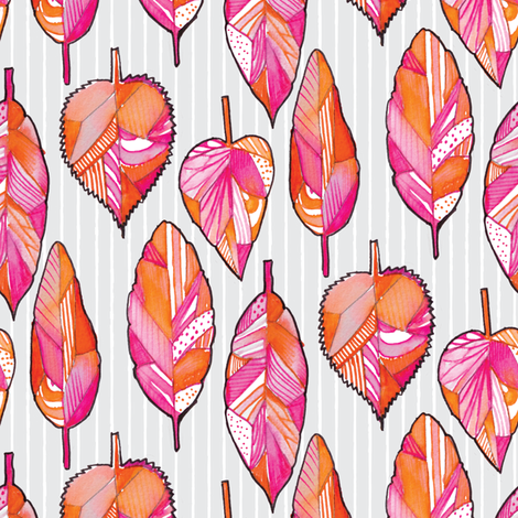 Watercolor Tribal Leaf  fabric by emilysanford on Spoonflower - custom fabric