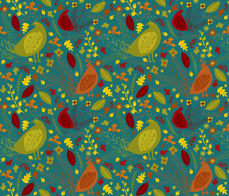 Autumn Love (peacock) fabric by pattyryboltdesigns on Spoonflower - custom fabric