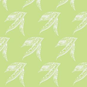 Tribal Leaf in Sage & Cream