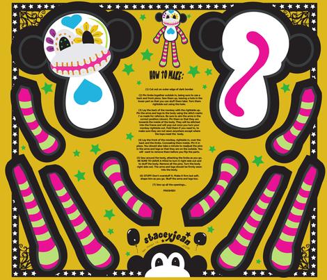 """FQ - 12"""" Calavera the Sugar Skull Monkey Cut & Sew Doll fabric by pumpkinbones on Spoonflower - custom fabric"""